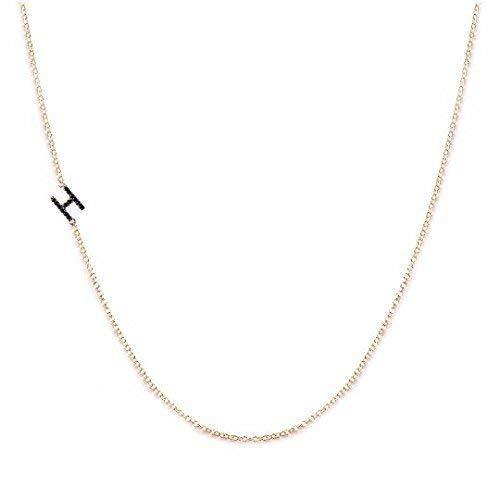14 K Gold Sideways Initial Necklace with Stones