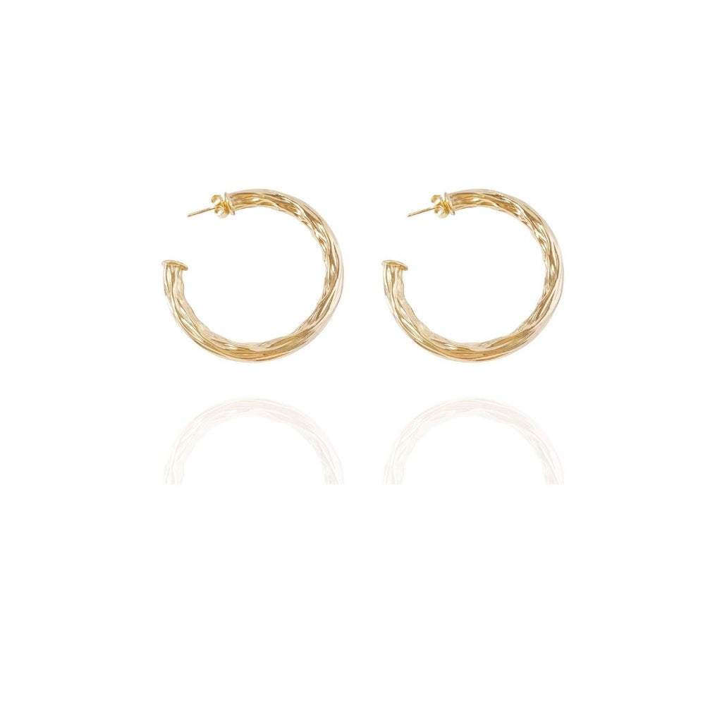 Hammered Gold hoops 1.75""