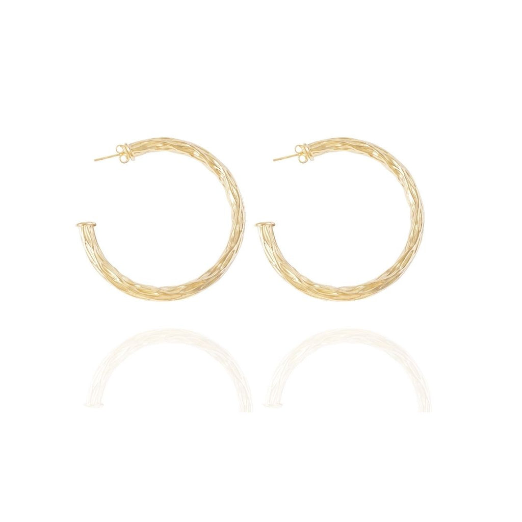 Hammered Gold hoops 2""