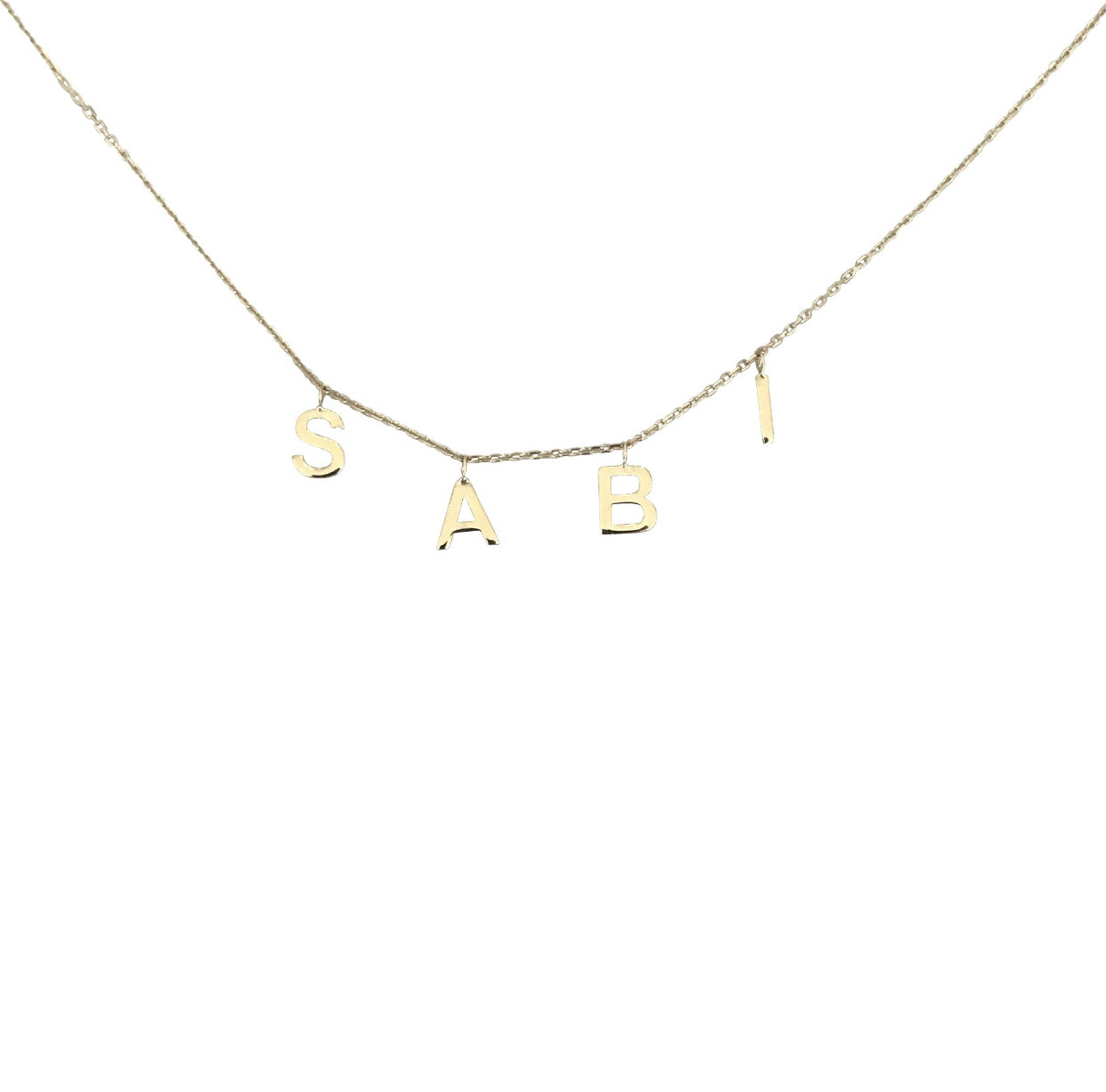 Initial letter necklace hanging 925 Sterling Silver