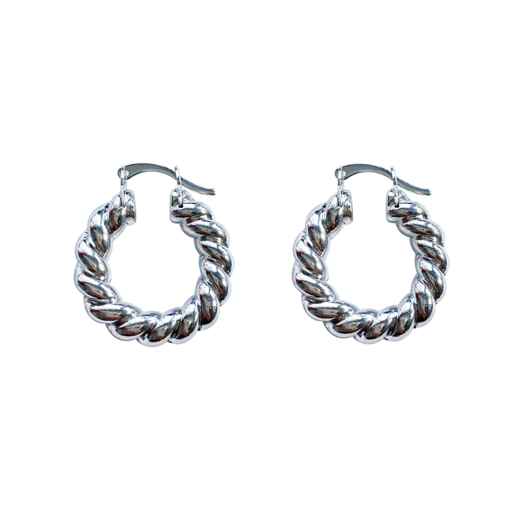 Mila White Gold Small Twisted Hoops