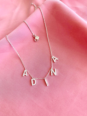 14 K Gold hanging Initial Necklace with Stones