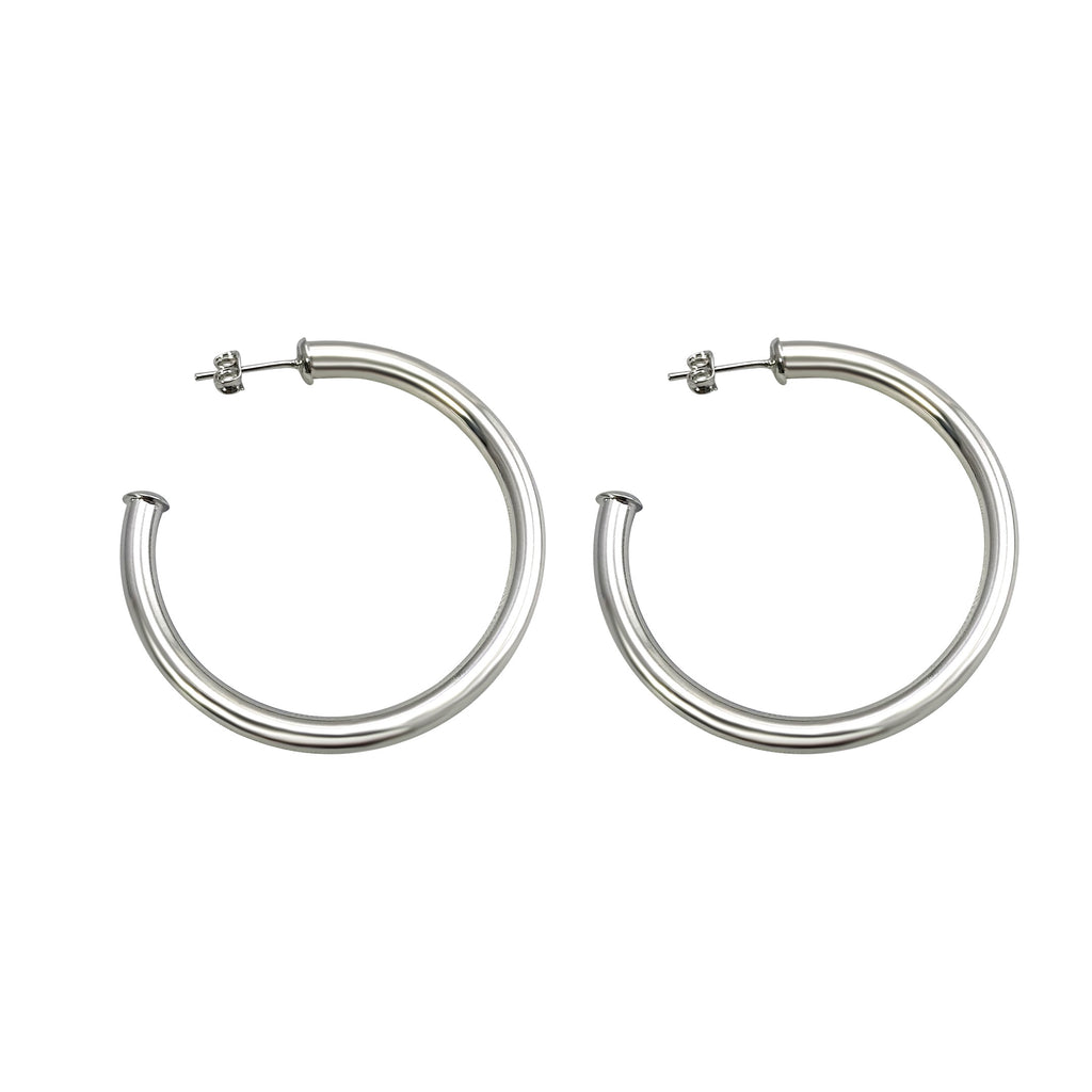 "Celine 1.5"" White Gold Hoops"