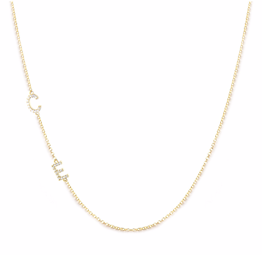14 K Gold Initial Necklace with Stones