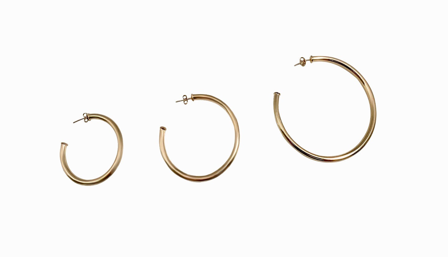 "Celine 1.5"" Yellow Gold Hoops"