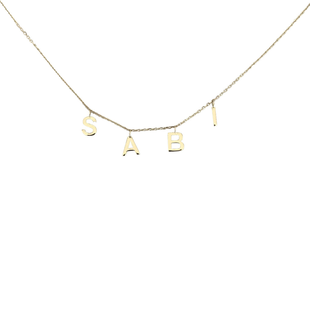 14 K Gold Hanging Initial Necklace