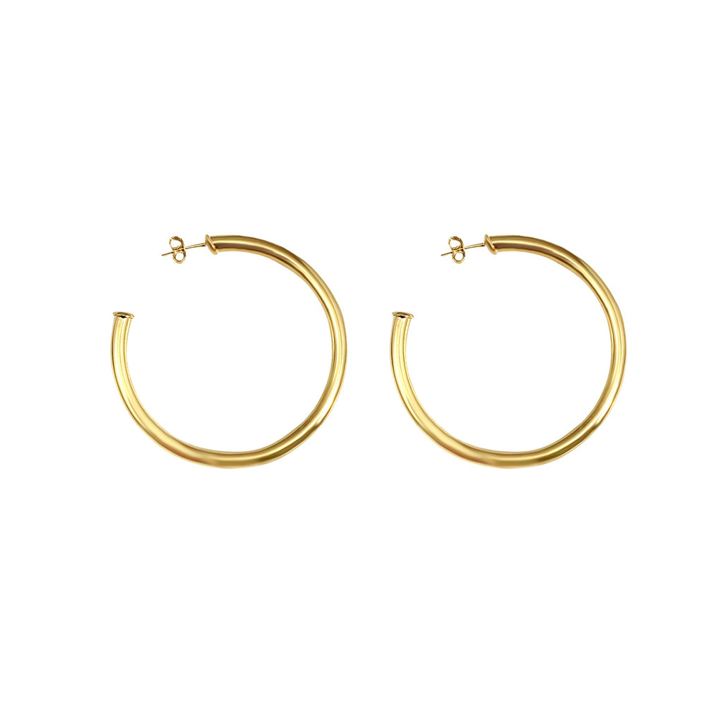 "Celine 2"" Yellow Gold Hoops"