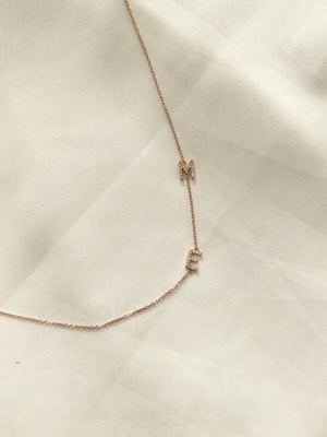 Initial letter necklace sideways 925 Sterling Silver with stones