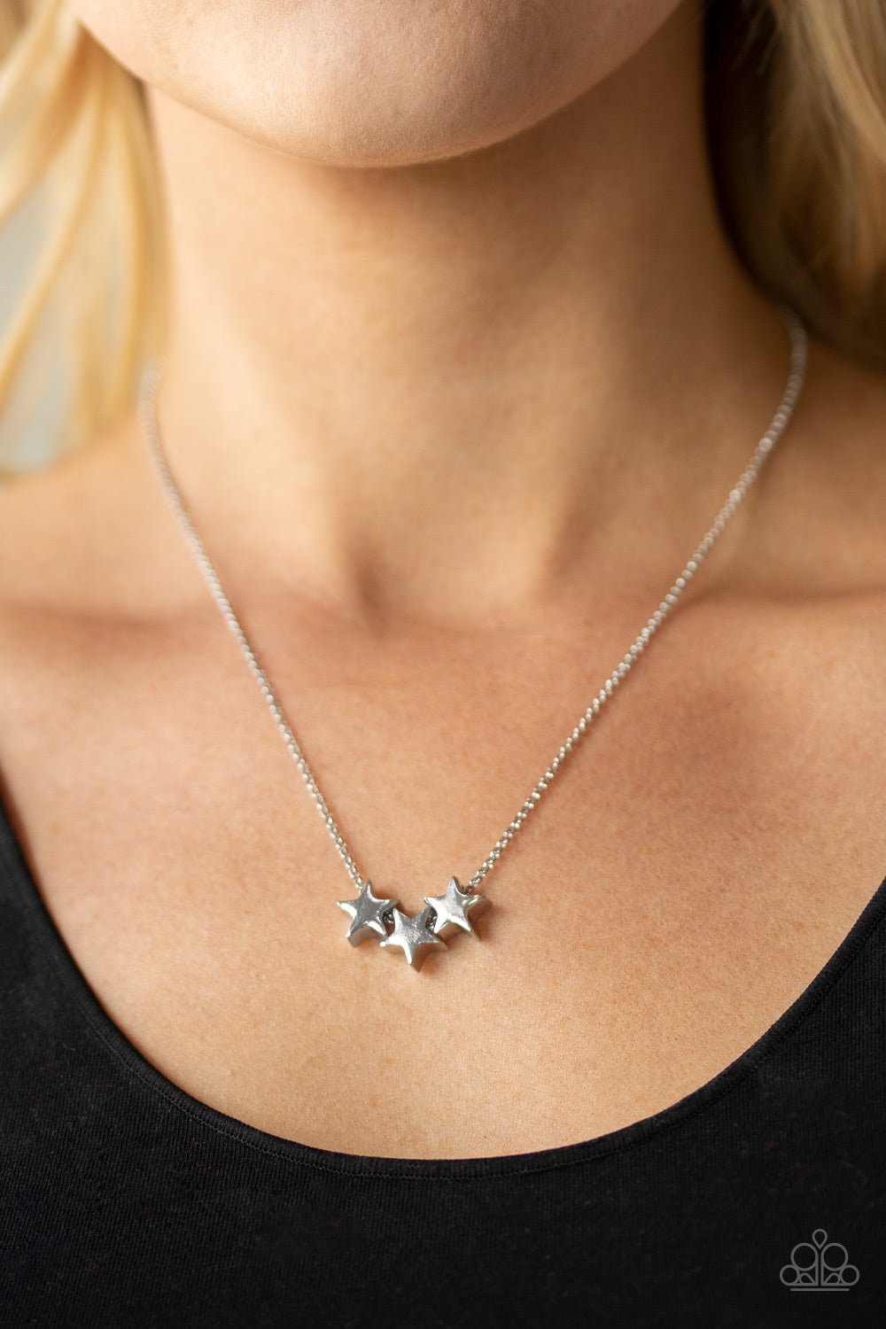 Shoot For The Stars - Silver Paparazzi Necklace - Pink Dragon Jewels