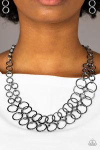 Metro Maven - Black Paparazzi Necklace - Pink Dragon Jewels