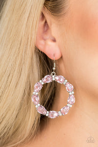 Ring Around The Rhinestones - Pink Paparazzi Earring - Pink Dragon Jewels