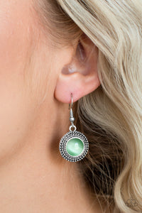 Time To GLOW Up! - Green Paparazzi Earring - Pink Dragon Jewels