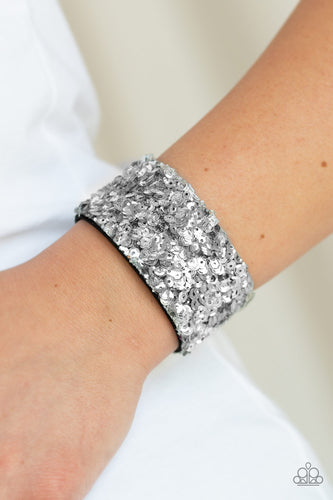 Starry Sequins - Silver Paparazzi Bracelet - Pink Dragon Jewels