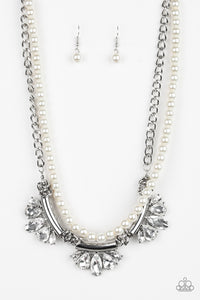 Bow Before The Queen - White Paparazzi Necklace - Pink Dragon Jewels