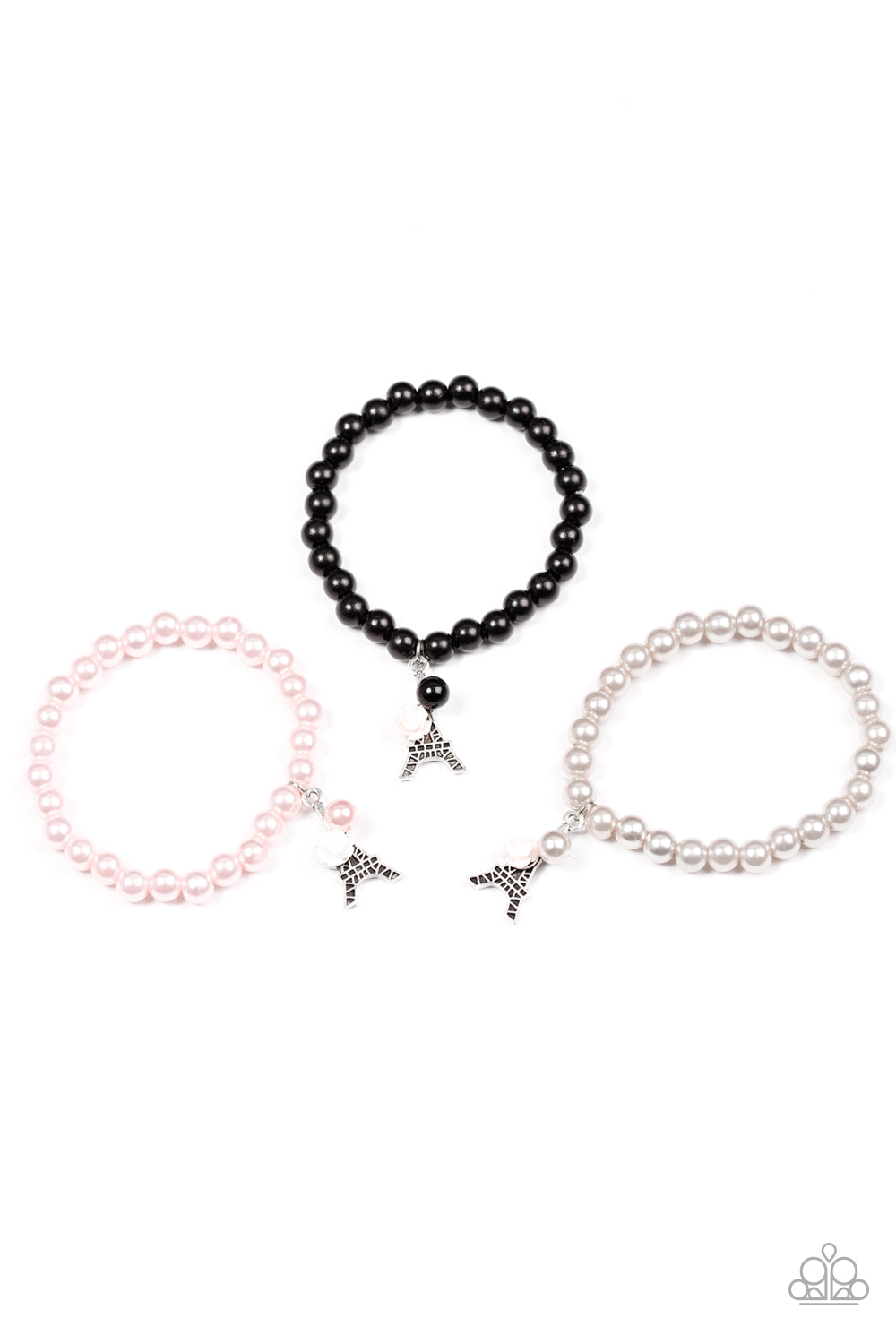 Eiffel Tower Pearl and Rose Bracelet - Paparazzi Starlet Shimmer - Pink Dragon Jewels