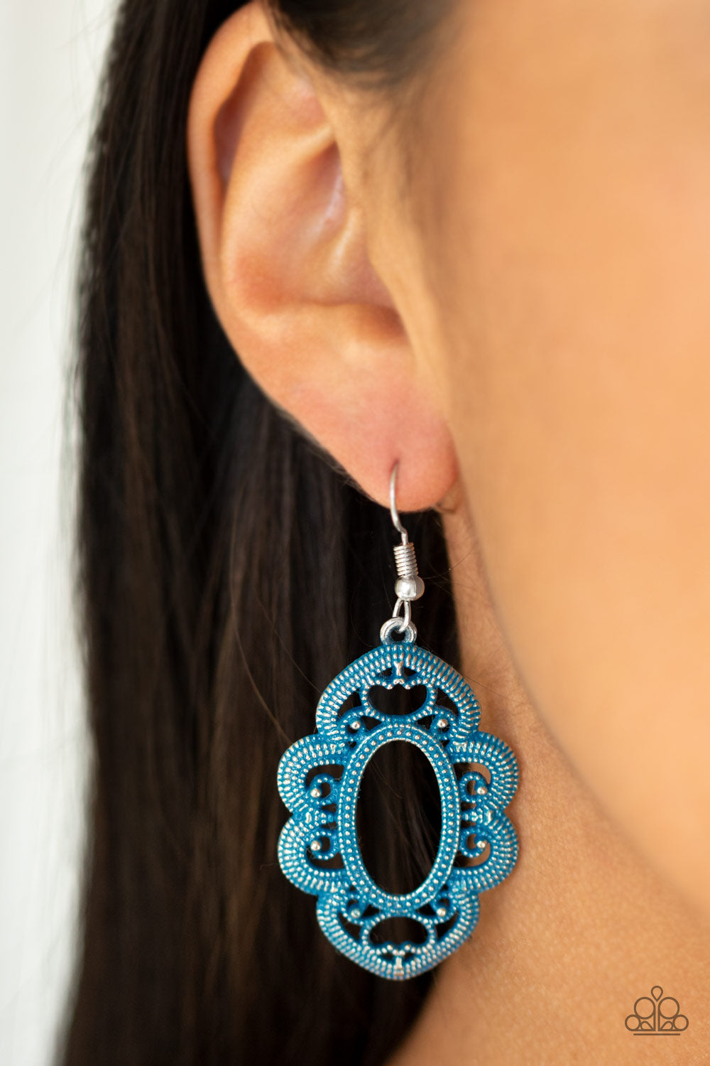 Mantras and Mandalas - Blue Paparazzi Earring - Pink Dragon Jewels