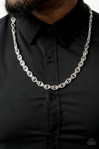 Grit and Gridiron - Silver Paparazzi Men's Necklace: 2020 Convention Exclusive - Pink Dragon Jewels