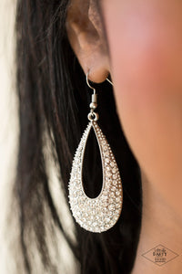 Big-Time Spender - White Paparazzi Earring - Pink Dragon Jewels