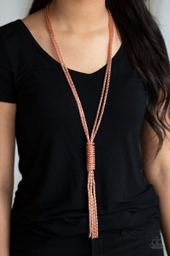 Boom Boom Knock You Out - Copper Paparazzi Necklace - Pink Dragon Jewels