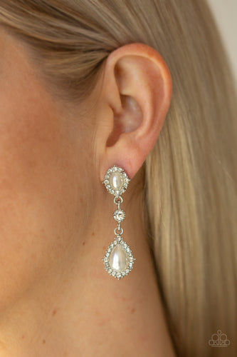 All-GLOWING - White Paparazzi Earring - Pink Dragon Jewels