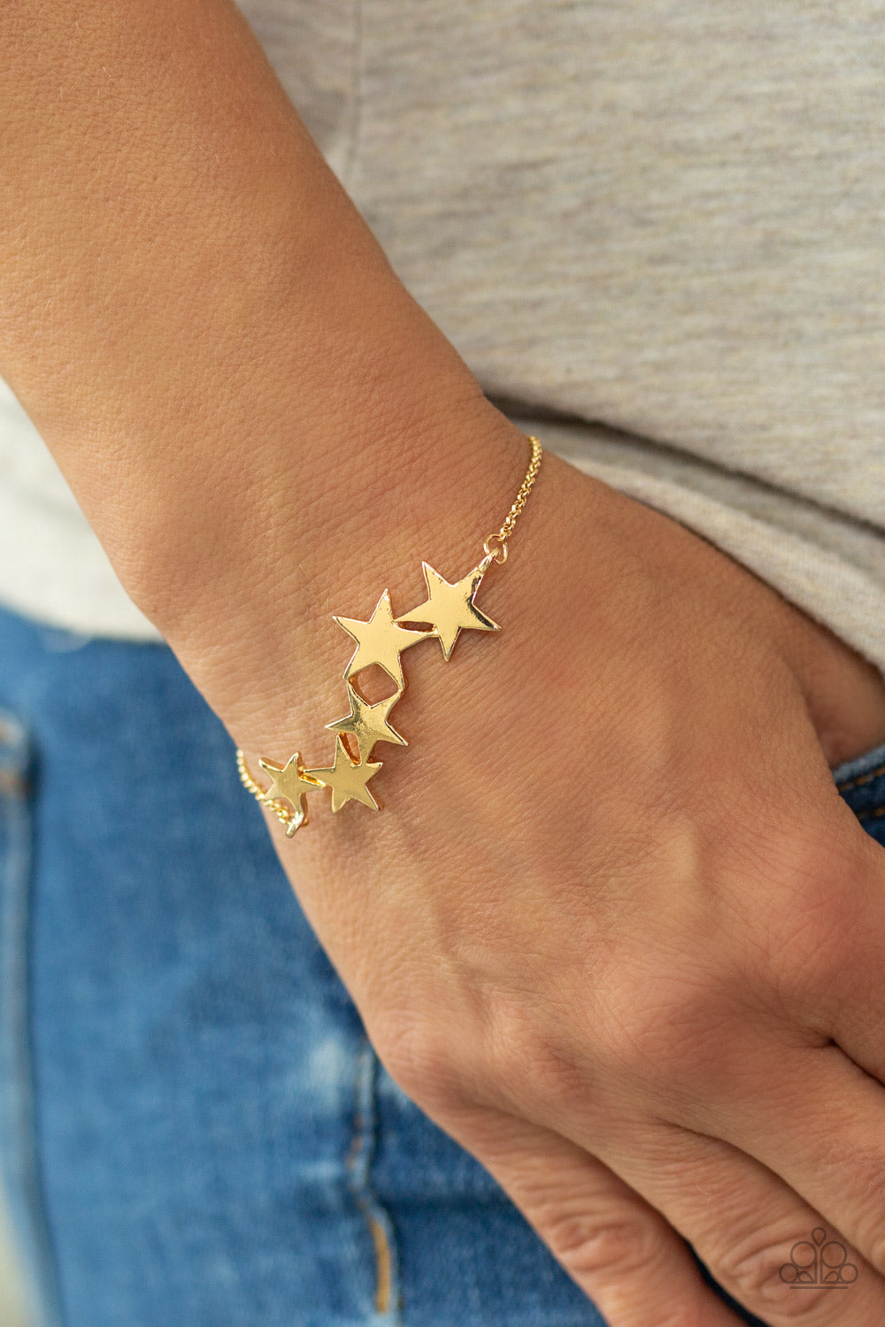 All-Star Shimmer - Gold Paparazzi Bracelet - Pink Dragon Jewels