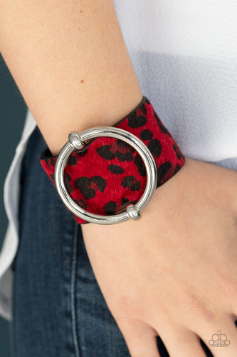 Asking FUR Trouble - Red Paparazzi Bracelet - Pink Dragon Jewels