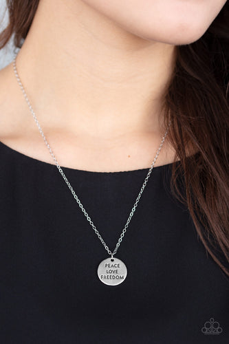 Freedom Isnt Free - Silver Paparazzi Necklace - Pink Dragon Jewels
