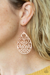 Lovely Lotus - Copper Paparazzi Earring - Pink Dragon Jewels