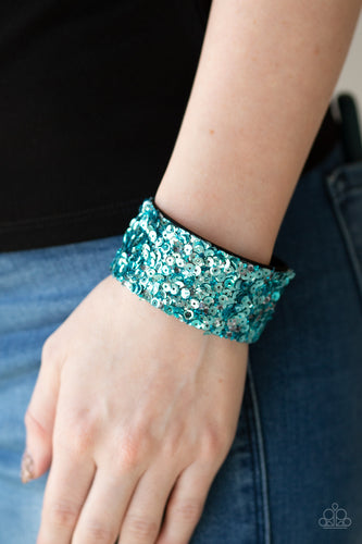 Starry Sequins - Blue Paparazzi Bracelet - Pink Dragon Jewels