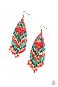Colors Of The Wind - Red Paparazzi Earring - Pink Dragon Jewels