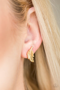Flying Feathers - Gold Paparazzi Earring - Pink Dragon Jewels