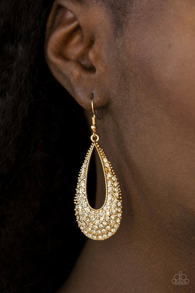 Big-Time Spender - Gold Paparazzi Earring - Pink Dragon Jewels
