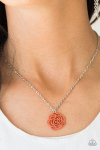 Blossom Bliss - Orange Paparazzi Necklace - Pink Dragon Jewels