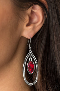 Top Rank - Red Paparazzi Earring - Pink Dragon Jewels