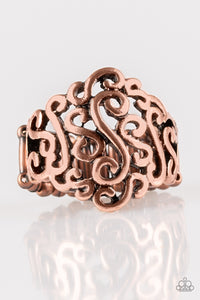 Dizzy Demure - Copper Paparazzi Ring - Pink Dragon Jewels