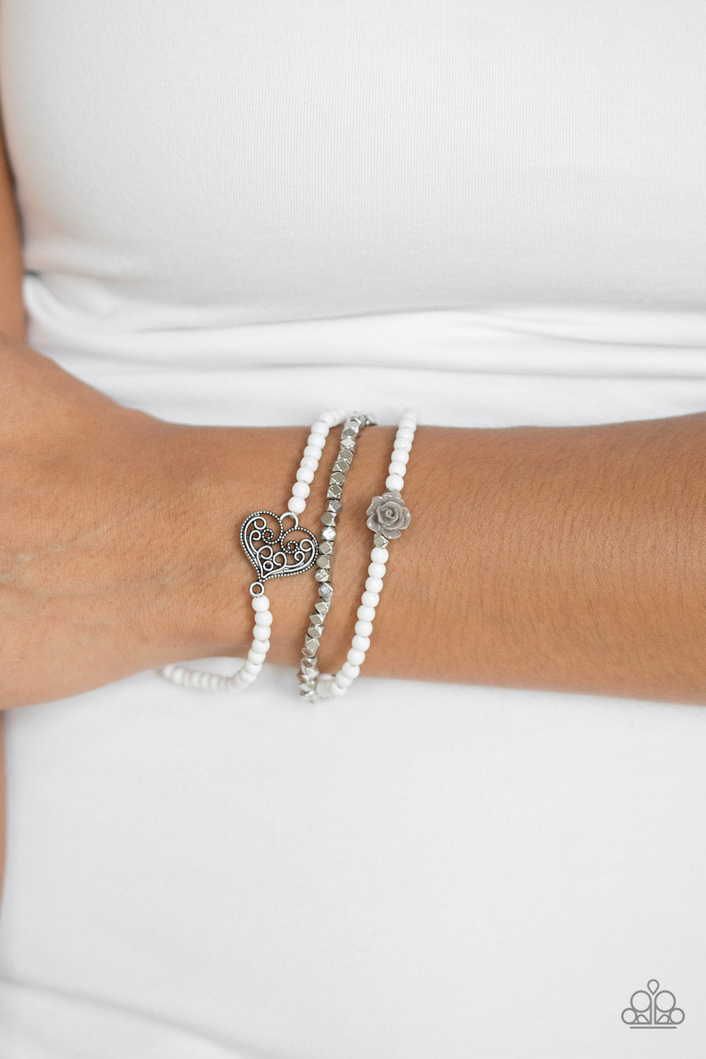 Lovers Loot - White Paparazzi Bracelet - Pink Dragon Jewels