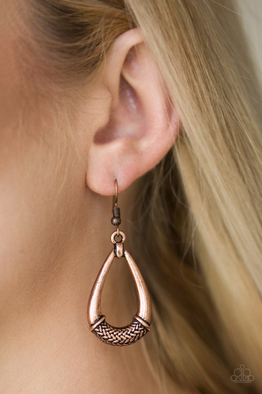 Trending Texture - Copper Paparazzi Earring - Pink Dragon Jewels
