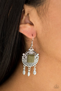 Open Pastures - Green Paparazzi Earring - Pink Dragon Jewels