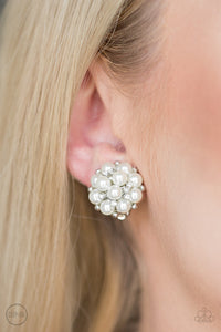 Par Pearl - White Clip-On Paparazzi Earring - Pink Dragon Jewels