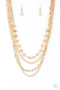 Extravagant Elegance - Gold Paparazzi Necklace - Pink Dragon Jewels