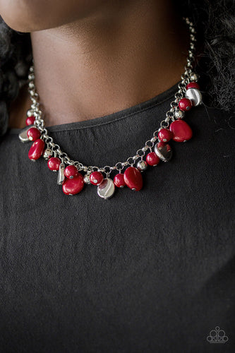 Flirtatiously Florida - Red Paparazzi Necklace - Pink Dragon Jewels