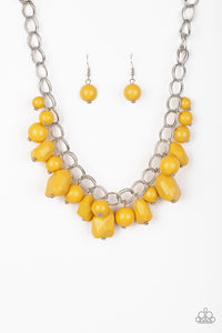Gorgeously Globetrotter - Yellow Paparazzi Necklace - Pink Dragon Jewels