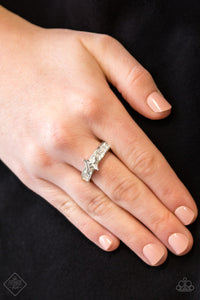 Elegantly Ever After - White Paparazzi Ring - Pink Dragon Jewels