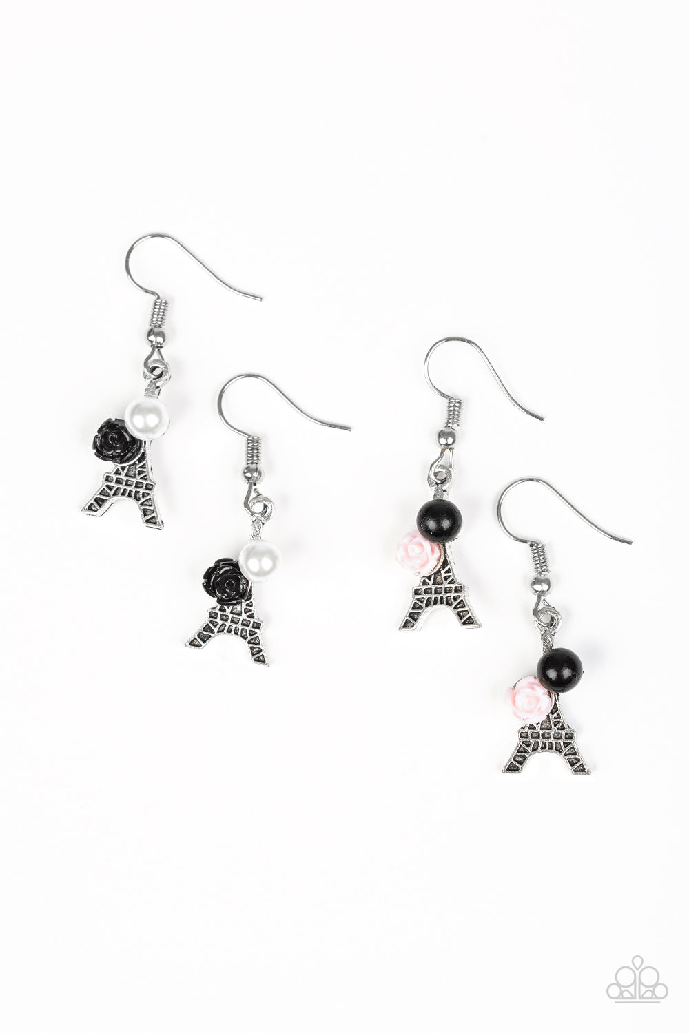 Eiffel Tower Pearl and Rose Earrings - Paparazzi Starlet Shimmer - Pink Dragon Jewels