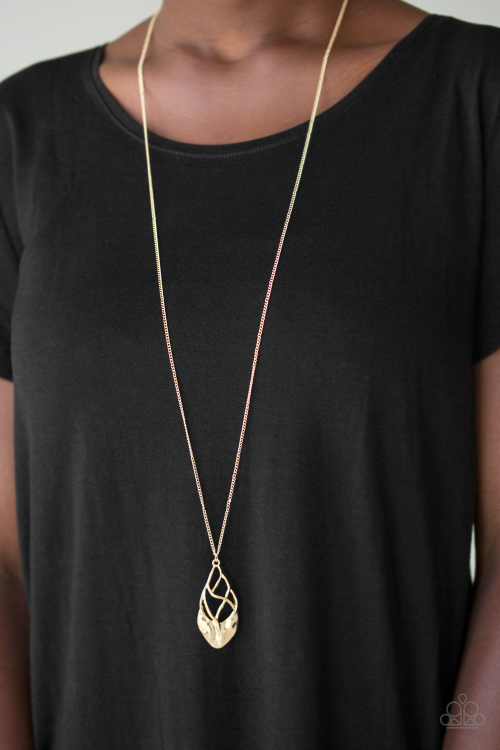 Swank Bank - Gold Paparazzi Necklace - Pink Dragon Jewels