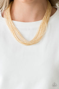 Wide Open Spaces - Gold Paparazzi Necklace - Pink Dragon Jewels