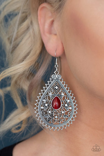 Eden Glow - Red Paparazzi Earring - Pink Dragon Jewels