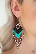 Load image into Gallery viewer, Wind Blown Wanderer - Blue Paparazzi Earring - Pink Dragon Jewels