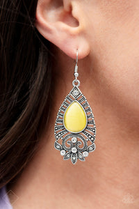 Majestically Malibu - Yellow Paparazzi Earring - Pink Dragon Jewels