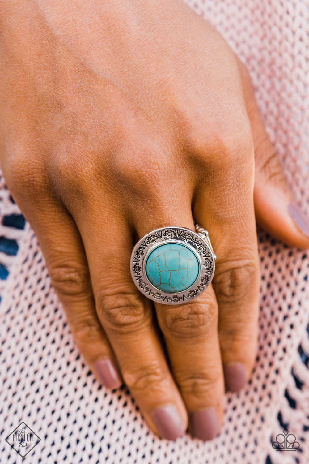 Geo Glyphs - Blue Paparazzi Ring - Pink Dragon Jewels